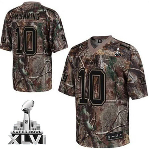 Giants #10 Eli Manning Camouflage Realtree Collection Super Bowl XLVI Embroidered NFL Jersey