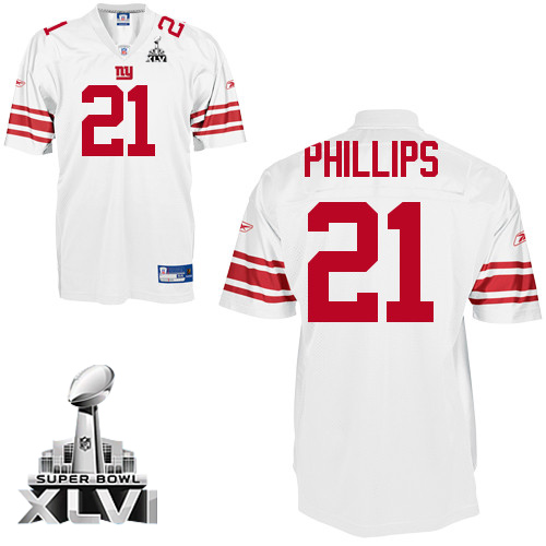 Giants #21 Kenny Phillips White Super Bowl XLVI Embroidered NFL Jersey