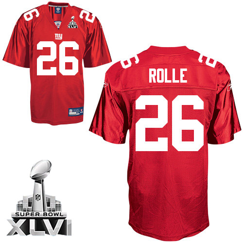 Giants #26 Antrel Rolle Red Super Bowl XLVI Embroidered NFL Jersey