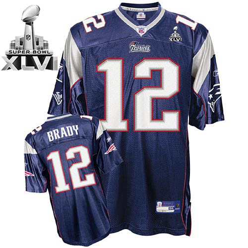 Patriots #12 Tom Brady Dark Blue Super Bowl XLVI Embroidered NFL Jersey
