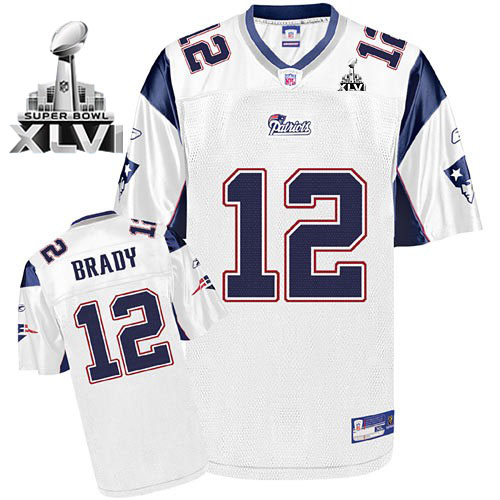 Patriots #12 Tom Brady White Super Bowl XLVI Embroidered NFL Jersey