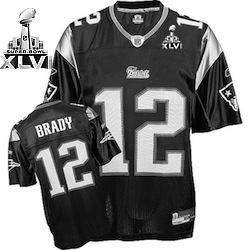 Patriots #12 Tom Brady Black Shadow Super Bowl XLVI Embroidered NFL Jersey