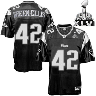Patriots #42 Green-Ellis Black Shadow Super Bowl XLVI Embroidered NFL Jersey
