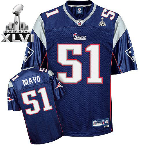 Patriots #51 Jerod Mayo Dark Blue Super Bowl XLVI Embroidered NFL Jersey