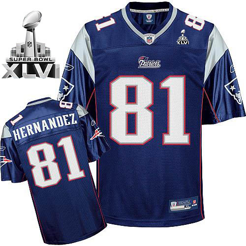 Patriots #81 Randy Moss Dark Blue Super Bowl XLVI Embroidered NFL Jersey