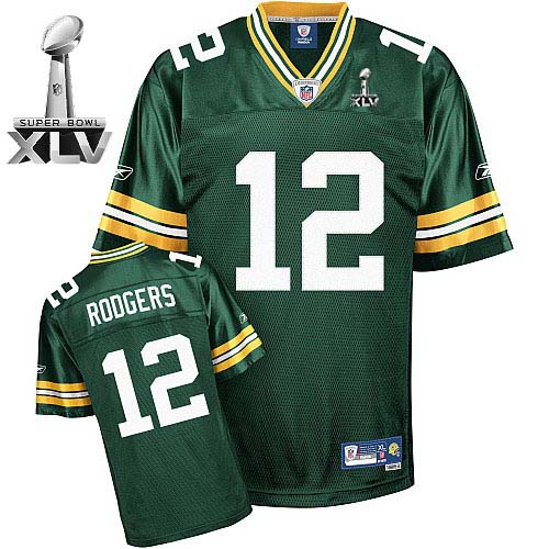 Packers #12 Aaron Rodgers Green Super Bowl XLV Stitched NFL Jersey