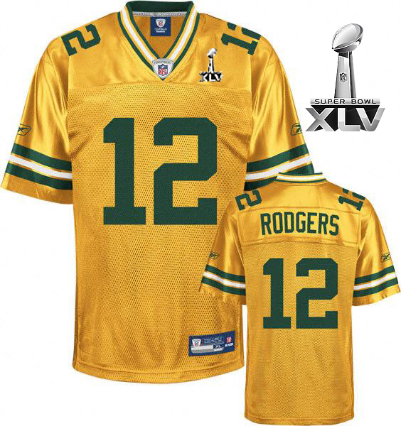 Packers #12 Aaron Rodgers Yellow Bowl Super Bowl XLV Stitched NFL Jersey