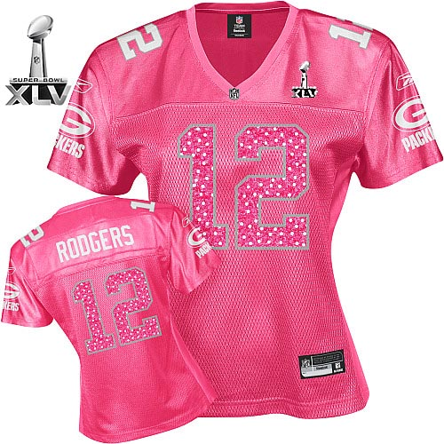 Packers #12 Aaron Rodgers Red Women's Sweetheart Bowl Super Bowl XLV Stitched NFL Jersey