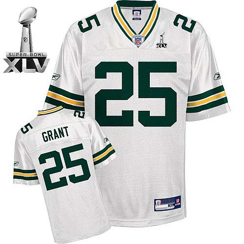 Packers #25 Ryan Grant White Super Bowl XLV Stitched NFL Jersey