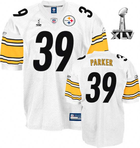 Steelers #39 Willie Parker White Super Bowl XLV Stitched NFL Jersey