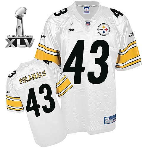 Steelers #43 Troy Polamalu White Super Bowl XLV Stitched NFL Jersey