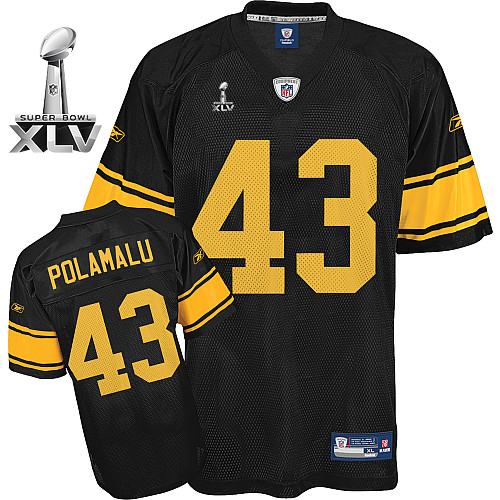 Steelers #43 Troy Polamalu Black With Yellow Number Super Bowl XLV Stitched NFL Jersey