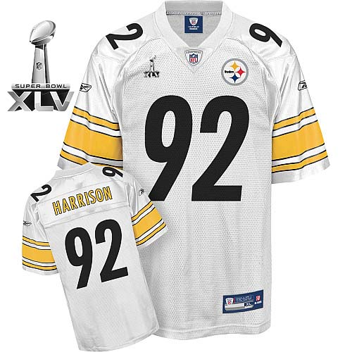 Steelers #92 James Harrison White Super Bowl XLV Stitched NFL Jersey