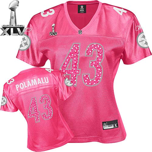 Steelers #43 Troy Polamalu Red Women's Sweetheart Super Bowl XLV Stitched NFL Jersey