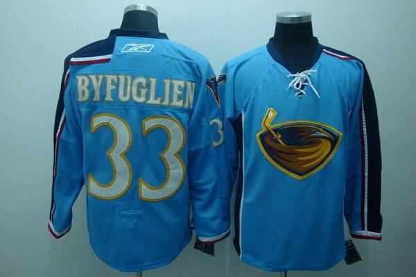 Thrashers #33 Dustin Byfuglien Embroidered Blue NHL Jersey