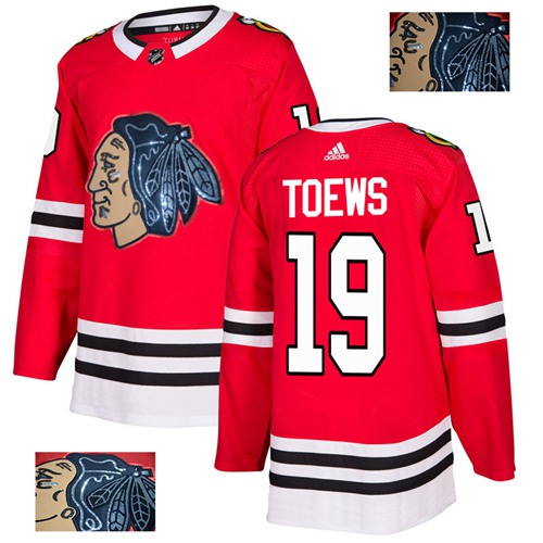 Adidas Blackhawks #19 Jonathan Toews Red Home Authentic Fashion Gold Stitched NHL Jersey