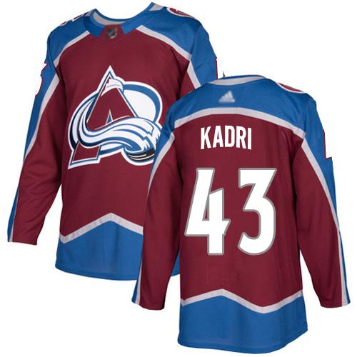Adidas Avalanche #43 Nazem Kadri Burgundy Home Authentic Stitched NHL Jersey