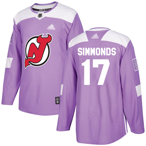 Adidas Devils #17 Wayne Simmonds Purple Authentic Fights Cancer Stitched NHL Jersey