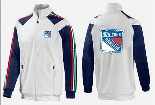 NHL New York Rangers Zip Jackets White-4