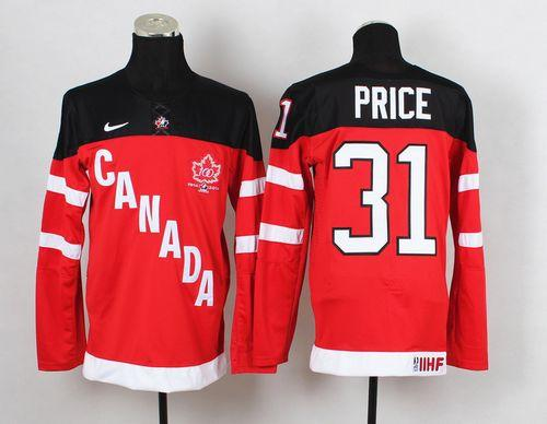 Olympic CA. #31 Carey Price Red 100th Anniversary Stitched NHL Jersey