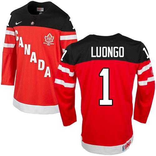 Olympic CA. #1 Roberto Luongo Red 100th Anniversary Stitched NHL Jersey