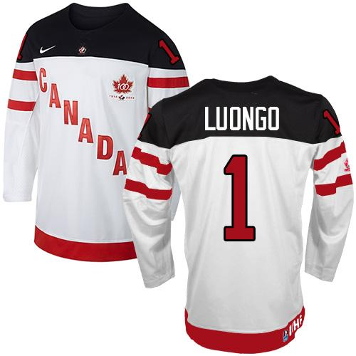 Olympic CA. #1 Roberto Luongo White 100th Anniversary Stitched NHL Jersey