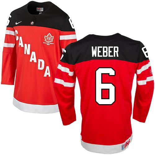 Olympic CA. #6 Shea Weber Red 100th Anniversary Stitched NHL Jersey