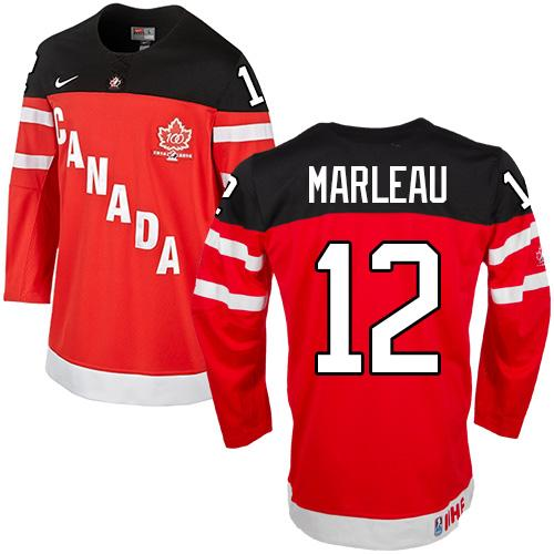 Olympic CA. #12 Patrick Marleau Red 100th Anniversary Stitched NHL Jersey