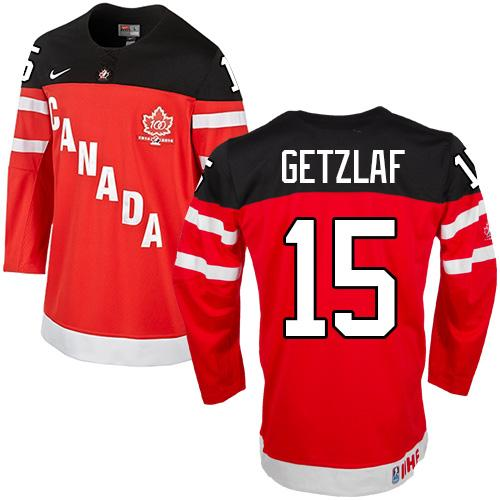 Olympic CA. #15 Ryan Getzlaf Red 100th Anniversary Stitched NHL Jersey