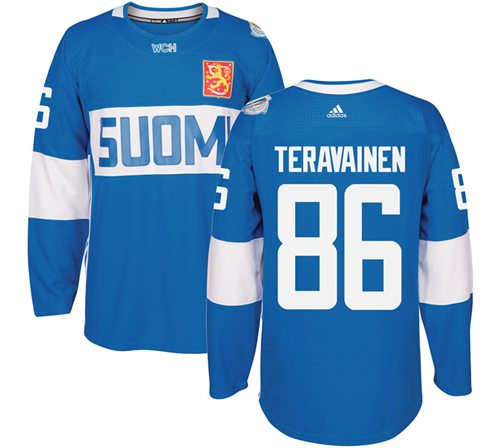 Team Finland #86 Teuvo Teravainen Blue 2016 World Cup Stitched NHL Jersey