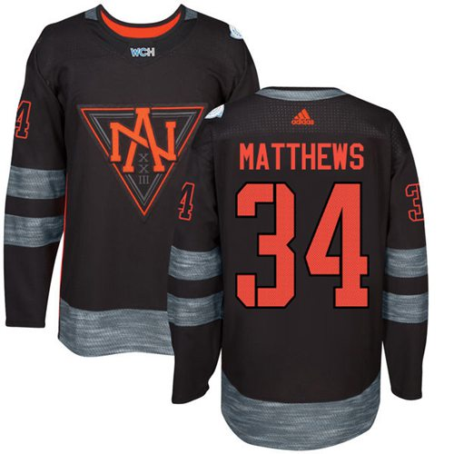 Team North America #34 Auston Matthews Black 2016 World Cup Stitched NHL Jersey
