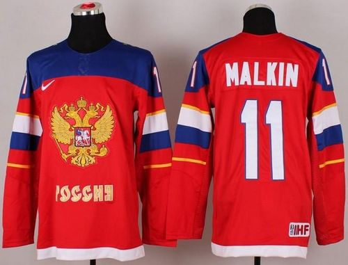 2014 Olympic Team Russia #11 Evgeni Malkin Red Stitched NHL Jersey