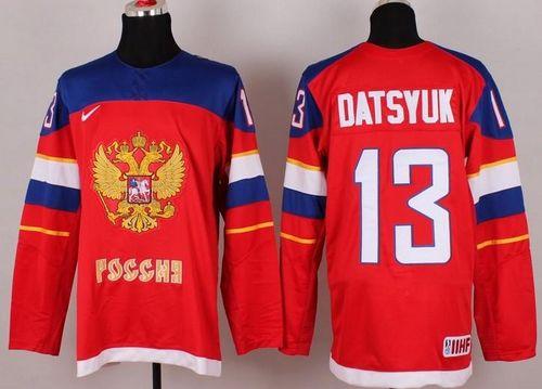 2014 Olympic Team Russia #13 Pavel Datsyuk Red Stitched NHL Jersey