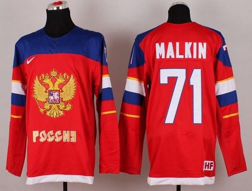 2014 Olympic Team Russia #71 Evgeni Malkin Red Stitched NHL Jersey