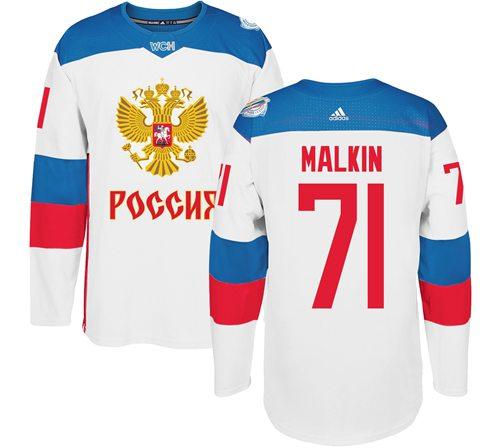 Team Russia #71 Evgeni Malkin White 2016 World Cup Stitched NHL Jersey