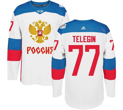 Team Russia #77 Ivan Telegin White 2016 World Cup Stitched NHL Jersey