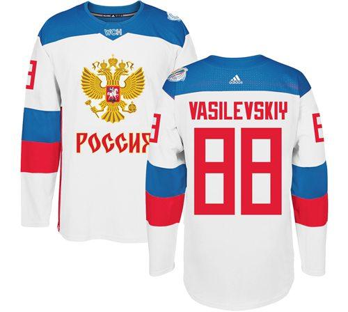 Team Russia #88 Andrei Vasilevskiy White 2016 World Cup Stitched NHL Jersey