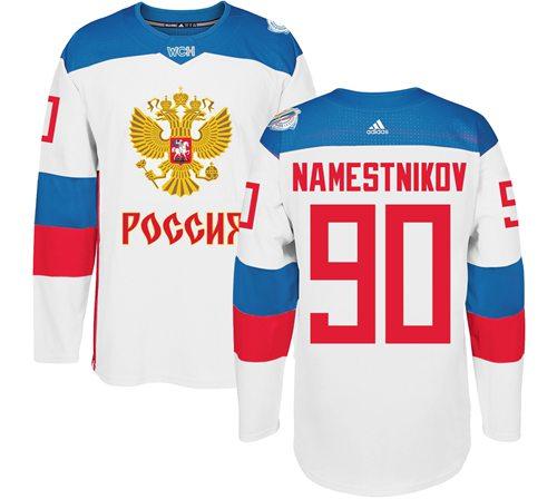 Team Russia #90 Vladislav Namestnikov White 2016 World Cup Stitched NHL Jersey