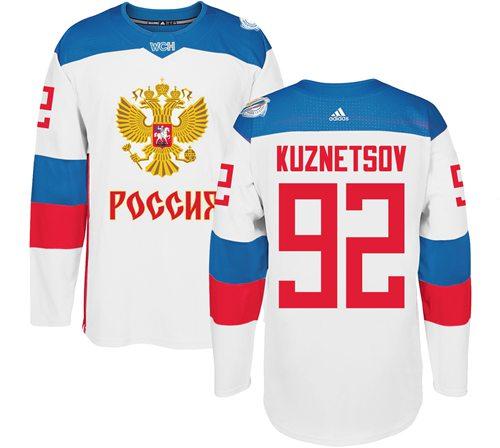 Team Russia #92 Evgeny Kuznetsov White 2016 World Cup Stitched NHL Jersey