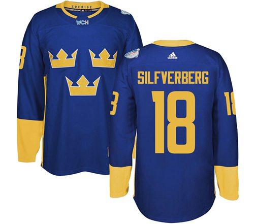 Team Sweden #18 Jakob Silfverberg Blue 2016 World Cup Stitched NHL Jersey