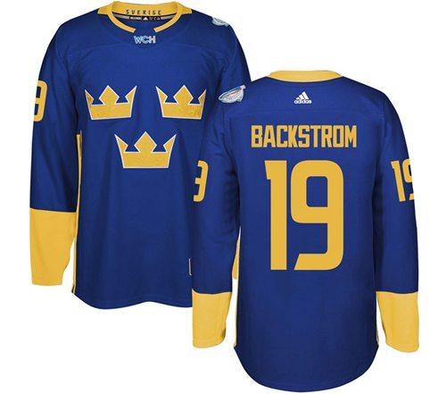 Team Sweden #19 Nicklas Backstrom Blue 2016 World Cup Stitched NHL Jersey