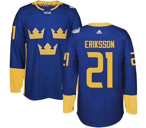Team Sweden #21 Loui Eriksson Blue 2016 World Cup Stitched NHL Jersey