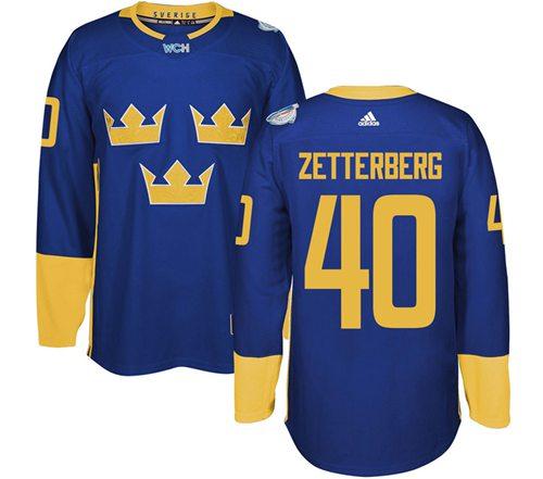 Team Sweden #40 Henrik Zetterberg Blue 2016 World Cup Stitched NHL Jersey