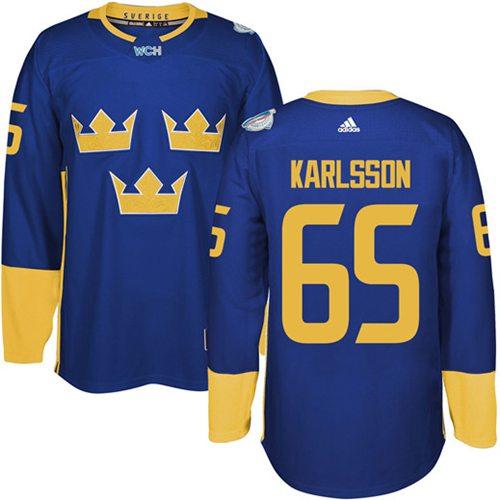 Team Sweden #65 Erik Karlsson Blue 2016 World Cup Stitched NHL Jersey