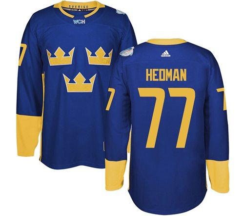 Team Sweden #77 Victor Hedman Blue 2016 World Cup Stitched NHL Jersey