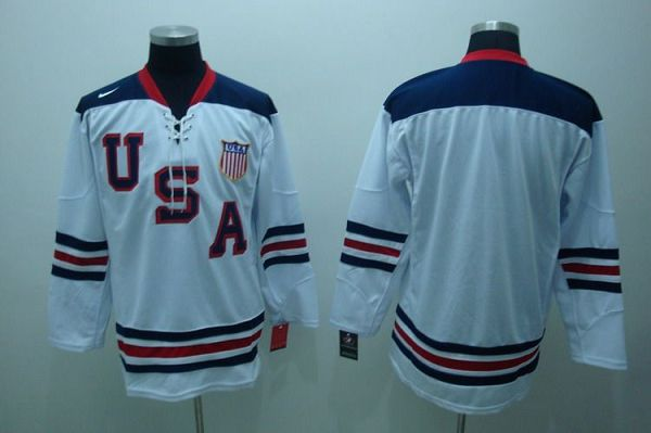 2010 Olympic Team USA Blank Embroidered White 1960 Throwback NHL Jersey