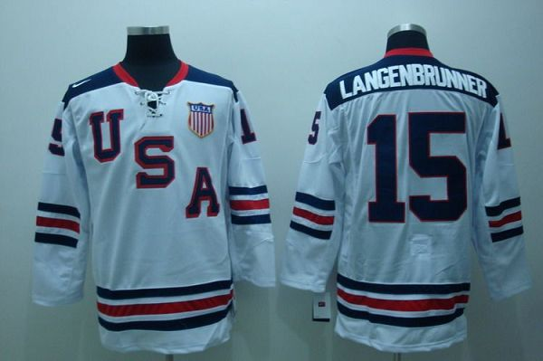 2010 Olympic Team USA #15 Jamie Langenbrunner Embroidered White 1960 Throwback NHL Jersey