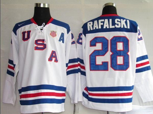 2010 Olympic Team USA #28 Brian Rafalski Embroidered White 1960 Throwback NHL Jersey