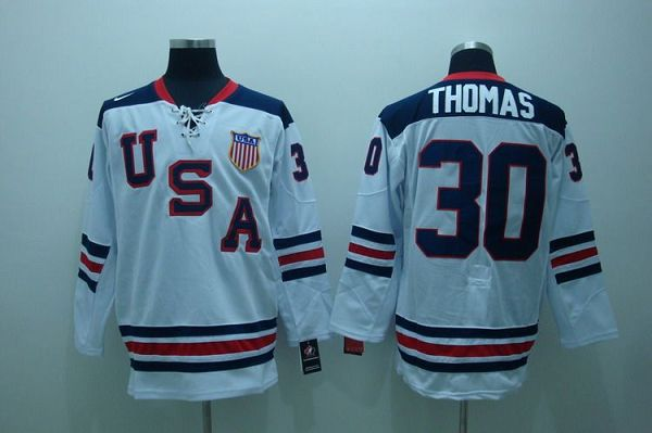 2010 Olympic Team USA #30 Tim Thomas Embroidered White 1960 Throwback NHL Jersey