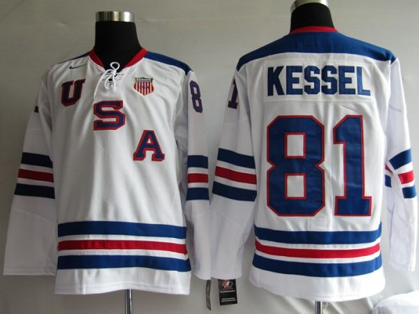 2010 Olympic Team USA #81 Phil Kessel Embroidered White 1960 Throwback NHL Jersey